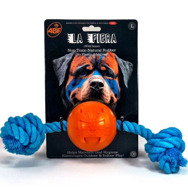 4BF La Fiera Rubber Ball with Rope Dog Toy (Large)