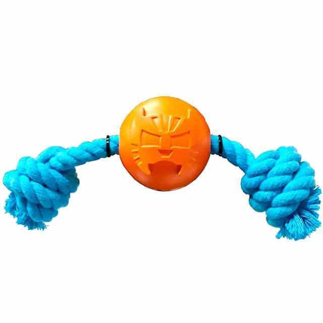 4BF La Fiera Rubber Ball with Rope Dog Toy (Large)_2