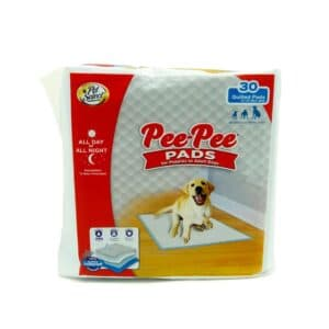 Four Paws Pet Select Dog Pee Pads take the mess out of housetraining! Each pad features a 5-ply system designed to stop leaks and keep the potty area clean. The quick-drying top layer prevents tracking, while the super-absorbent quilted core simultaneously provides maximum absorption. These dog training pads also feature a heavy duty leak-proof liner that helps protect floors and carpets, and a built-in attractant that draws your dog to use the pad. Ideal for both puppy training and stay-at-home adult dogs, these big dog pads provide 12 hours of protection. Make potty time clean and convenient with our all-in-one indoor dog training solution!