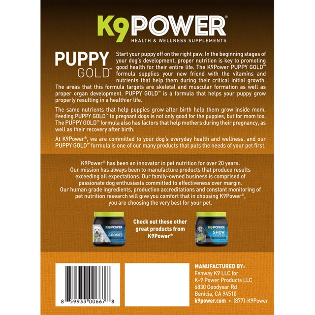 K9 Power Puppy Gold – Nutritional Supplement for Growing Puppies and Mothers