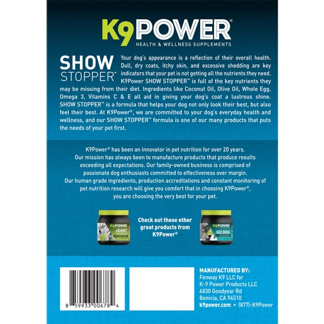 K9 Power Show Stopper – Healthy Dog Coat and Skin Formula to Improve Health and Appearance