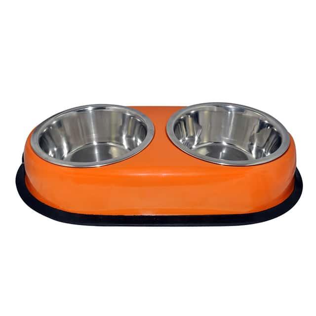 Orange Anti-Skid Twin Oval Dish