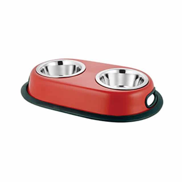 Red Anti-Skid Twin Oval Dish