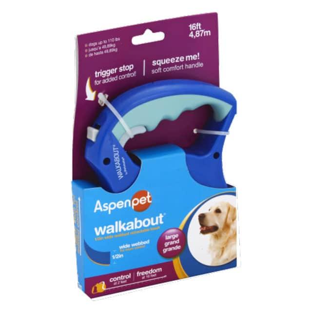 Aspen Pet Walkabout Large 1_2 inch Wide Webbed Retractable 16ft Leash