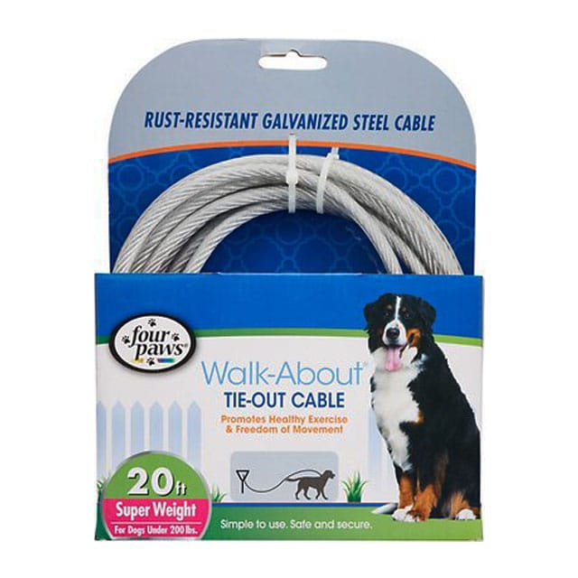 Four Paws Heavy Duty Dog Cable 20-Foot Large Dog Tie Out Cable