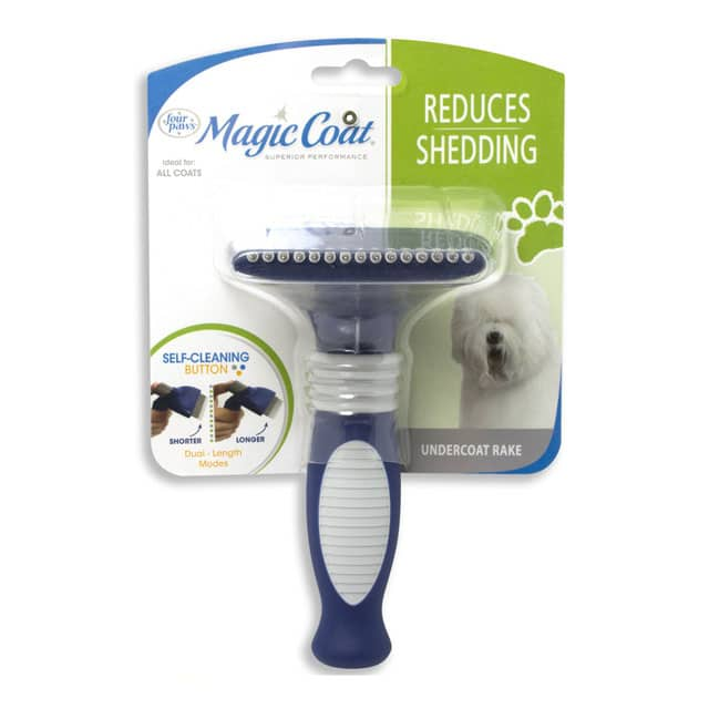 Four Paws Magic Coat Self-Cleaning Undercoat Dog Grooming Rake