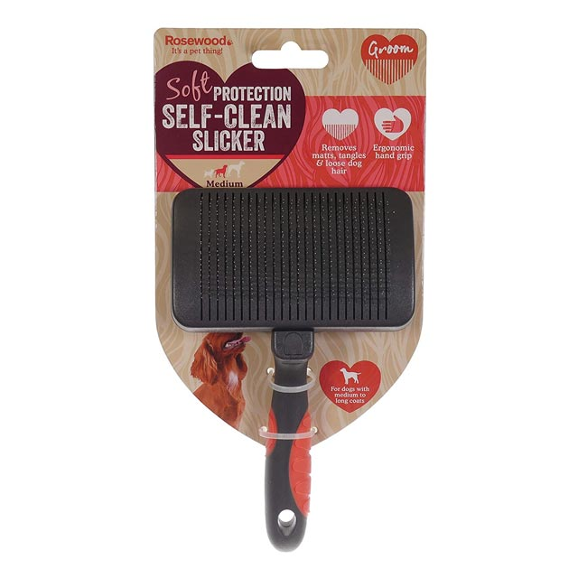 Rosewood Soft Protection Salon Grooming Self Cleaning Brush - Medium