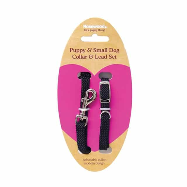 Rosewood Soft Weave Puppy and Small Dog Collar and Lead Set_black