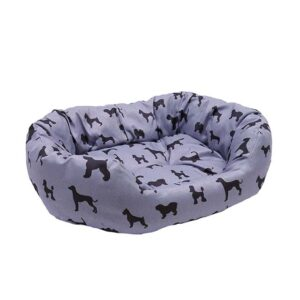 Padded Dogs Print Grey Oval Bed