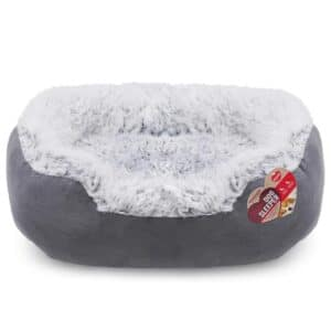Rosewood Grey Lion Faux Suede Bed